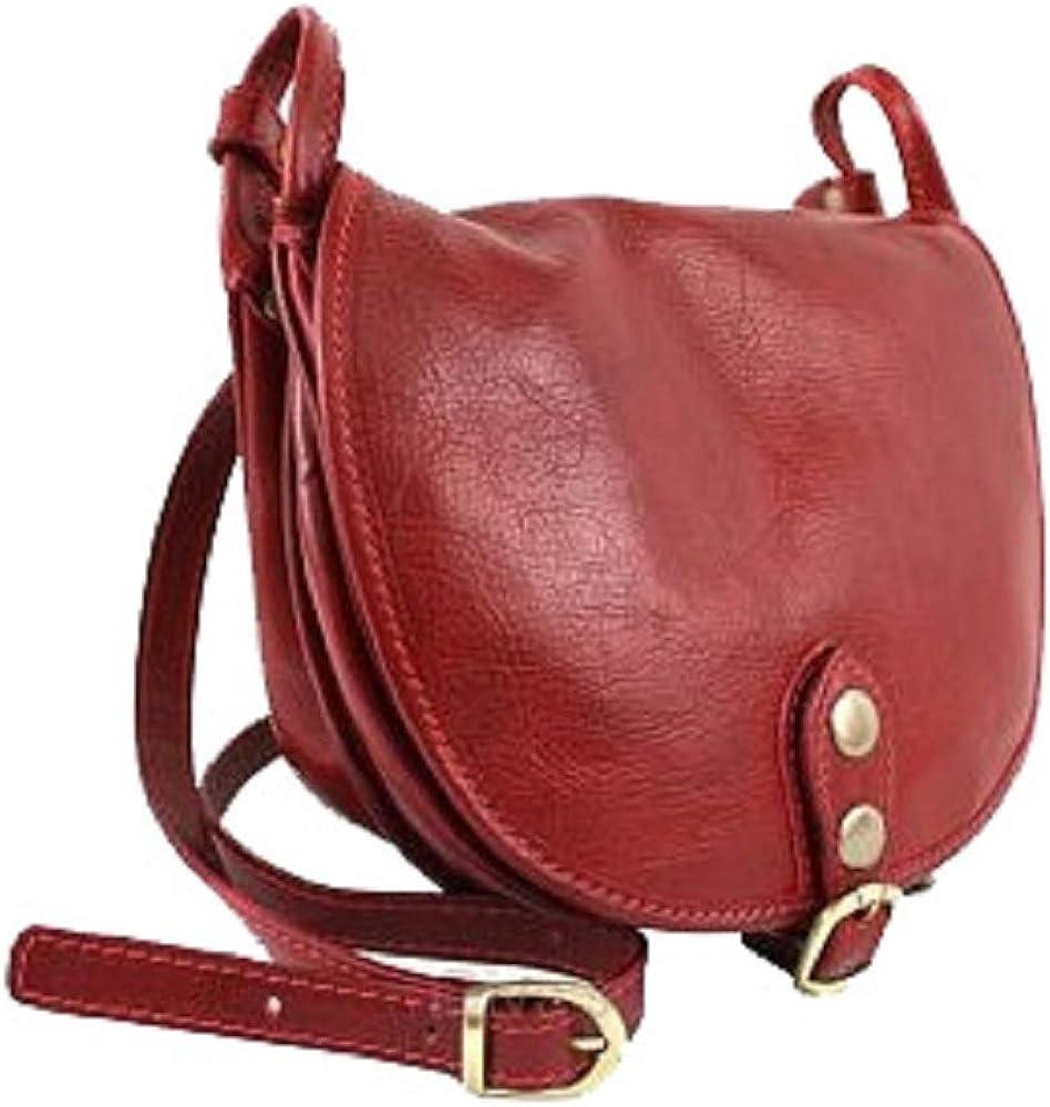 Bottega carele, borsa da donna a tracolla, in vera pelle, made in italy, rossa BC905R