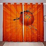 XAONUO Impresión Fotográfica 3D Cortinas Opacas Naranja Deportes Baloncesto Tejido De Poliéster Multicolor Suave Y Fácil De Limpiar Cortinas Modernas Bedroom Decoration 305X270Cm