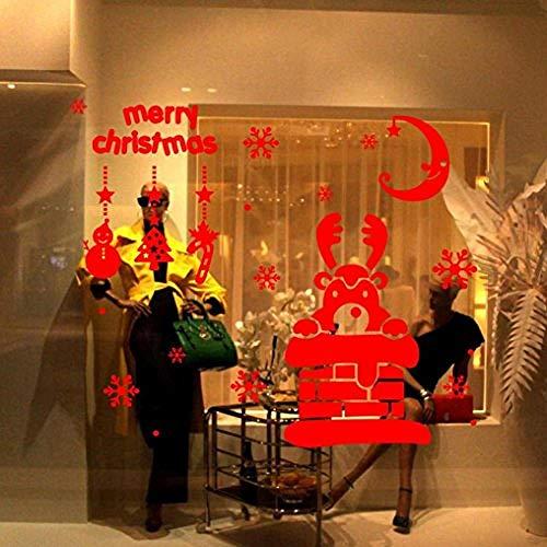 Zbzmm Kerstmuurstickers, afneembaar, kerstdecoratie, motief eland met diermotieven, muurstickers, raamdecoratie Netto