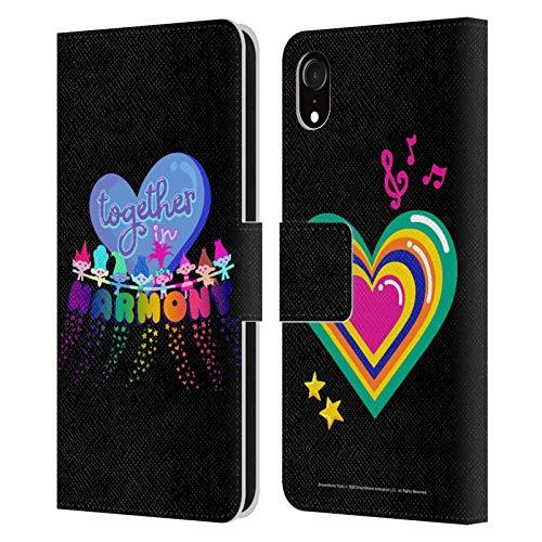 Head Case Designs Licenciado Oficialmente Trolls World Tour Juntos en armonía Rainbow BFFs Carcasa de Cuero Tipo Libro Compatible con Apple iPhone XR