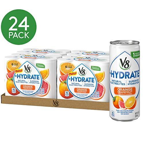 V8 +Hydrate Plant-Based Hydrating Beverage, Orange Grapefruit, 8 Fl Oz, Pack of 24