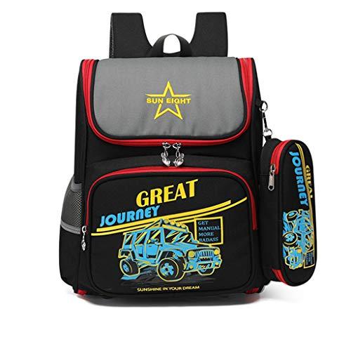 Kinderrucksäcke Grundschule Schultasche mit Federmäppchen, 2020 Personalisierter Schulrucksack für Mädchen Jungen Cartoon Schulranzen für Grundschüler 1-3 Klasse/6-9 Jahre Kinder(Auto)