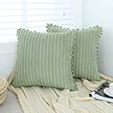 Oirpro Green Pillow Covers 18x18 inch with Pom-poms Set of 2 Corduroy Farmhouse Boho Accent Decorative Throw Pillow Covers for Couch Bed Sofa