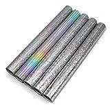 5er Set Glitzerfolie Klebefolie 100x33cm pro Rolle Hologramm Glitzer Folie Bastelfolie Dekofolie Glitter Vinyl DIY (Bunt gemischt)