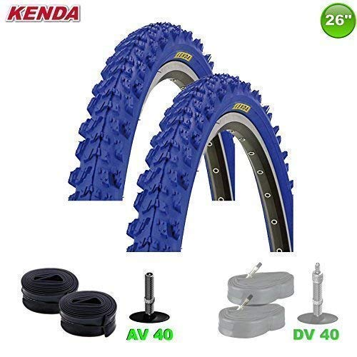 2x Kenda MTB Neumático de la bicicleta cubierta + 2 Mangueras av- 26 X 1.95-50-559 (Azul)