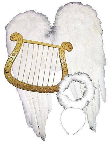 Körner Festartikel Engel Set 3-TLG. Weihnachten - Tolle Accessoire für Engelskostüm, Weihnachtsfeier oder Weihnachtsmarkt
