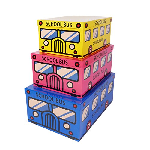 SLPR Decorative Storage Cardboard Boxes with Lids for Kids (Set of 3, School Bus)   Nesting Boxes for Closet Nursery Office Bedroom Decoration
