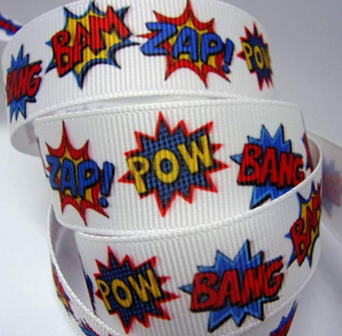 Grosgrain Ribbon - Bang, Bam, Zap, Pow Print - 7/8' Wide, 10 Yards. for Bows and Crafts!