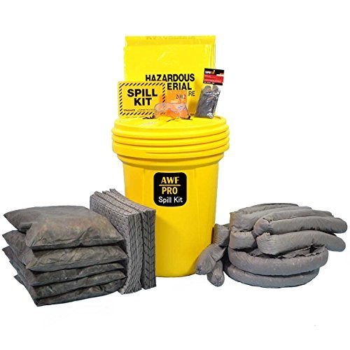 30 Gallon Universal Spill Kit, Pro Grade, 75 Pc: Overpack Drum, 50 Heavy Duty Pads 15