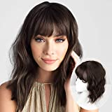 Vigorous Chocolate Brown Wave Hair Topper for Women with Thinning Hair Topper with Bangs Synthetic Wavy Hair Extension for Women Toppers Hairpieces to Cover Up Grays 14 inches(Chocolate Brown)
