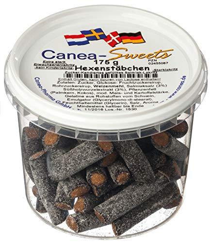 Canea-Sweets Weichlakritzstäbchen mit würziger Salmiakfüllung, HEXENSTÄBCHEN Lakritz Dose, 1er Pack (1 x 175 g)