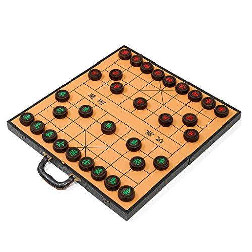 FEANG Tablero Conjunto de ajedrez Chino de Madera Maciza con el Almacenamiento Interno del Tablero de ajedrez Plegable...