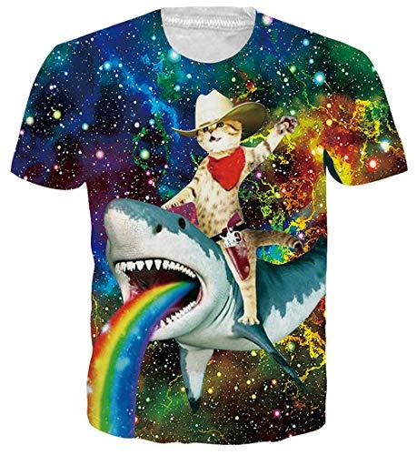 Spreadhoodie Unisex Camisetas de Manga Corta Galaxia 3D Tiburon con Gato Casual Hipster T Shirt...