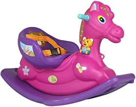 Rocking Horse Children's Baby Trojan Padded Toy with Music Plastic Rocking Chair 85 * 52cm (Color : Purple) XIUYU (Color : Purple)