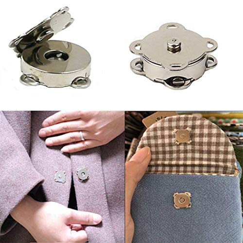 WAFJMAF 10 Sets Sew in Magnetic Plum Blossom Bag Button, Snaps, Clasps, Great for Purses Bags Clothes (14mm, Silver)