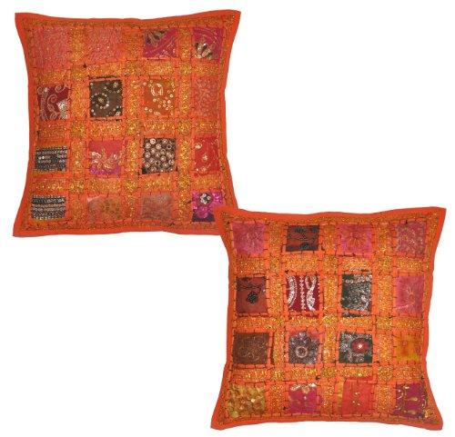 2 Pcs Indian Vintage Home Decor Cotton Kissenbezug mit Stickerei & Patchwork, 41 x 41 cm (Orange)
