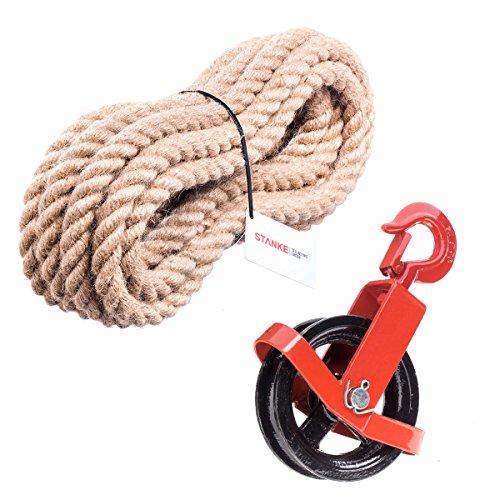 Seilwerk STANKE 125mm Umlenkrolle mit Haken + Juteseil 20mm 20 Meter Seilwinde Seilzug Seilrolle Windenrolle Flaschenzug Baurolle Bau Aufzug SET