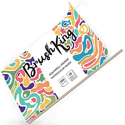 Leap Studio Aquarellpapier für Brush Pen Art - BrushKing | 200 g, 20 Blatt, Weiß, geleimt, Aquarellblock, Watercolour Paper Pad, Malblock Papier für Aquarell.