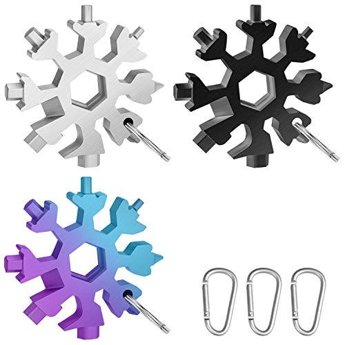3 PACK Schneeflocke Multi-Tool 18-in-1,Edelstahl Fahrrad Multifunktionswerkzeug,Tragbare Schraubendreher Schlüsselanhänger Flaschenöffner Ringschlüssel Sechskantschlüssel