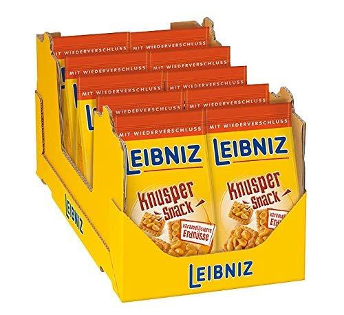 LEIBNIZ Knusper Snack karamellisierte Erdnüsse - 10er Pack – Mini Butterkeks mit süßen Peanuts – im Vorteilspack (10 x 175 g)