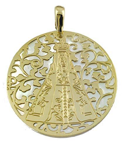 Medalla Virgen de Begoña en Plata de Ley Cubierta de Oro de 18kt y nácar