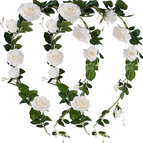FiveSeasonStuff 2 Pcs Bendable Flower Garland Artificial Silk Rose Vine Leaves (3.5 metres) Hanging Face Flowers for Wall Decoration, Wedding, Bridal, Wreaths (White)
