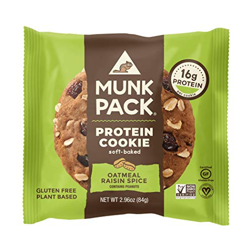 Munk Pack Protein Cookie, Oatmeal Raisin Spice, 12 Pack, 16 Grams of Protein, Soft Baked, Pantry Friendly, Vegan, Gluten Free, Dairy Free, Soy Free