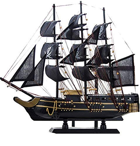 FFCVTDXIA Modelo de Nave Modelo de velero de Madera Modelo Vintage Estilo mediterráneo Hecho a Mano Barco Pirata Negro para decoración de Habitaciones, 45 cm x 46 cm zhihao