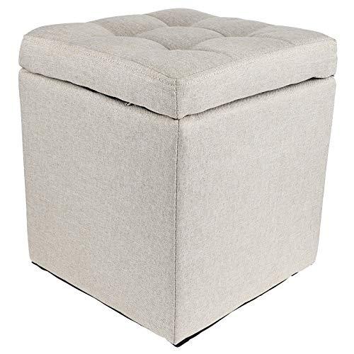 30x30x34.5cm Madera + Algodón y Lino Resistente al Desgaste Muebles para el hogar Almacenamiento para Muebles Caja de Almacenamiento para taburetes para decoración del hogar