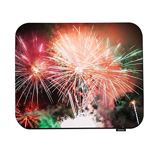 Swono Fireworks Mouse Pads Abstract Beautiful Fireworks in The Night Mouse Pad for Laptop Funny Non-Slip Gaming Mouse Pad for Office Home Travel Mouse Mat 7.9'X9.5'