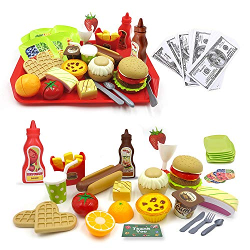 hallodo Toy Food Pretend Play Food Set in Gift Box Fast Food Burger Play Kitchen for Toddlers and Kids with Stackable Burger and Bonus Bank Notes Hamburger Toy Set for Girls and Boys Ages 3-7