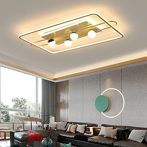 ZHANGQ Plafón LED Plafón rectangular sencillo y moderno Plafón regulable 276W con 4 bombillas blancas Fuente de luz tricolor Lámparas / 102×61×15cm