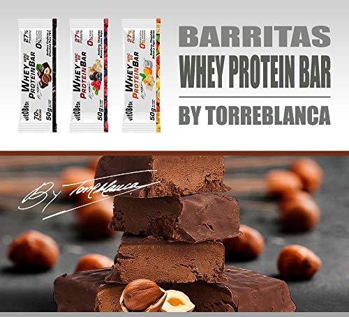 Barritas Proteínas Energéticas Whey Protein BAR By Torreblanca - 20 Barritas de 50g - Sin Azúcar añadida - Ingredientes 100% Naturales - Suplementos Alimentación - Vitobest (Chocolate Puro)