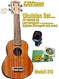 Clifton Ukelele Soprano Modelo 213, cuello de okuome Madera, huesos Sillín, celuloide Binding, cuerpo de caoba-sapele, Guitarra mecanismo Aprendizaje/Songbook con jkaraoke CD, afinador digital