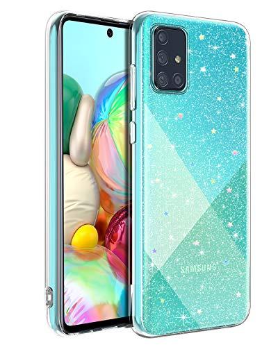 BENTOBEN Samsung Galaxy A71 Hülle Handyhülle Glitzer, Samsung Galaxy A71 Case Slim Anti Gelb Soft Silikon Cover Ultra dünn Hülle für Samsung Galaxy A71 Transparent Glitzer Sterne