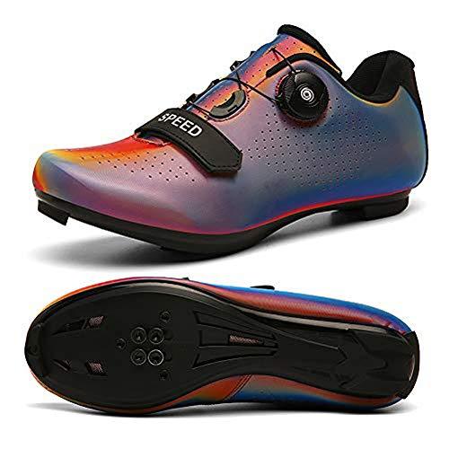 Zapatos de ciclismo para hombre con SPD, zapatos giratorios de equitación con hebilla transpirable para interior y ciclismo luminosos, color Naranja, talla 40 2/3 EU