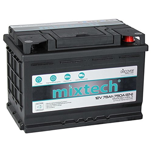 mixtech 12V Autobatterie 78Ah Nass Starterbatterie mit 360 Grad Elektrolyt-Durchmischung KFZ-Batterie in 9 Varianten: 48Ah - 105Ah (wartungsfrei)