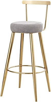 Barstools Footstool with Backrest Sponge Upholstered Seat Dining Chair Kitchen Restaurant Bar | Metal Frame,