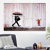 ganlanshu Famosos Graffiti Master Posters e Impresiones decoración Familiar Pintura de Lluvia decoración Colorida Pintura al óleo Abstracta,Pintura sin Marco,80x120cm