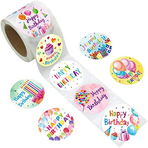 Watercolor Happy Birthday Stickers Perforated 200Pcs Per Roll for Kids Party Decoration