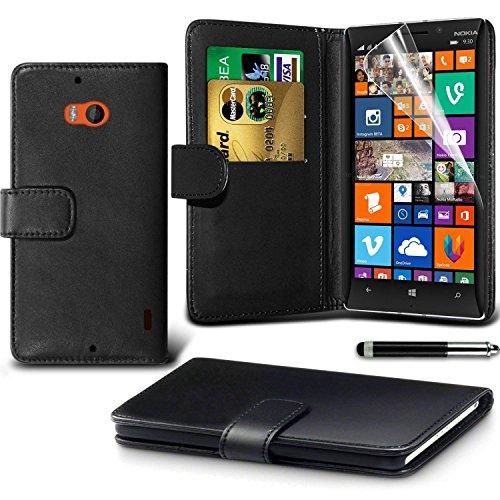 Nokia Lumia 930 Black Farbe PU Lederetui Buch-Stil Handy Hülle mit Displayschutz-Folie & Eingabestift von Gadget Giant®
