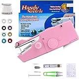 Dweyka Mini Macchina da Cucire,Handheld Portatile Cordless Strumento di Cucitura Rapida con 18 PCS Accessori Adatto per Vestiti,Denim, Tende, Pelle, e Fai-da-Te - Rosa