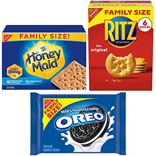Oreo (ORMT9) RITZ And Honey Maid Snack Variety Pack(Family Size), Chocolate sandwich cookies, salted crackers and honey graham crackers, 3 Count