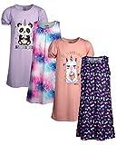 Limited Too Girls' Pajamas - 4 Pack Short Sleeve and Sleeveless Sleep Shirt Nightgown (Big Girl), Size 7/8, Pandacorn/Llamacorn