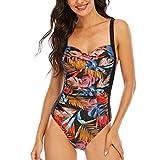 WIN.MAX Traje de baño Acolchado para Reducir Barriga, Traje de baño de Talla Grande para Mujeres Monokinis Vintage Push up (Negro Naranja, 46)
