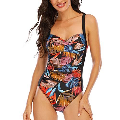 WIN.MAX Costumi da Bagno Imbottiti con Volant sul Controllo della Pancia, Costumi da Bagno Taglie Forti per Donna Monokinis Push up Vintage (Arancia Nera, 40)