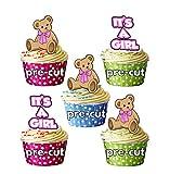 It's A Girl - Oso de peluche rosa - Decoraciones precortadas para cupcakes comestibles para baby shower, revelación de género, bebé niña (paquete de 12)