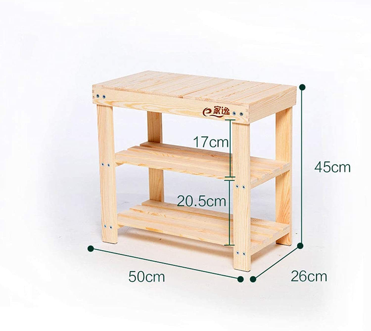 Simple Solid Wood shoes Bench Garden Furniture Test shoes Stool Pine shoes Storage Stool,50  26  45cm