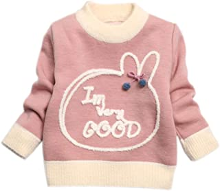 Mornyray Little Girls Cartoon Long Sleeve Plus Velvet Warm Sweater 1-5 Years