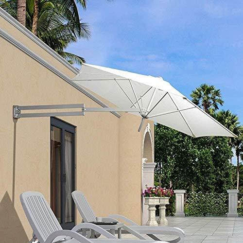 YYF Tatsächlich Sonnenschirm 2.5m Balkon Regenschirm Wand Retractable Außen Regenschirm Freizeit Hof Regenschirm Garden Design-LED-Lampe Sonnenschirm hohe Qualität (Color : White)